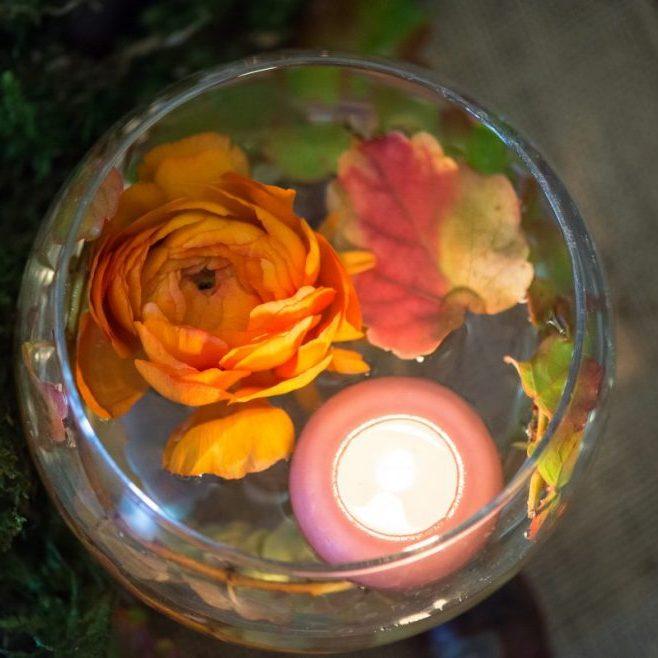 bougie décoration table mariage automne