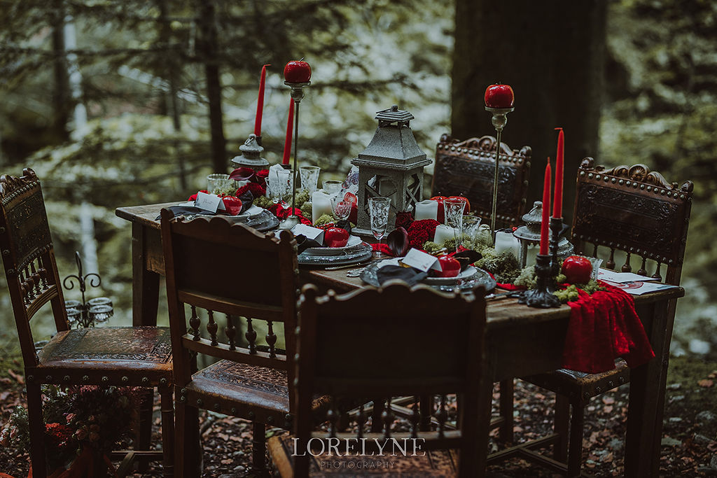 décoration table blanche neige